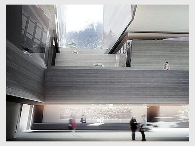 Vue du lobby avec son immense comptoir d'accueil - Tour Thom Mayne - Vals/Stoffel