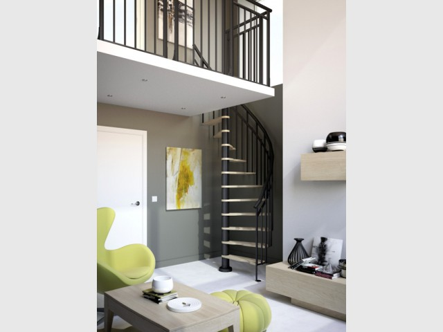 Un escalier niché dans l'angle mort d'une pièce - Escalier gain de place