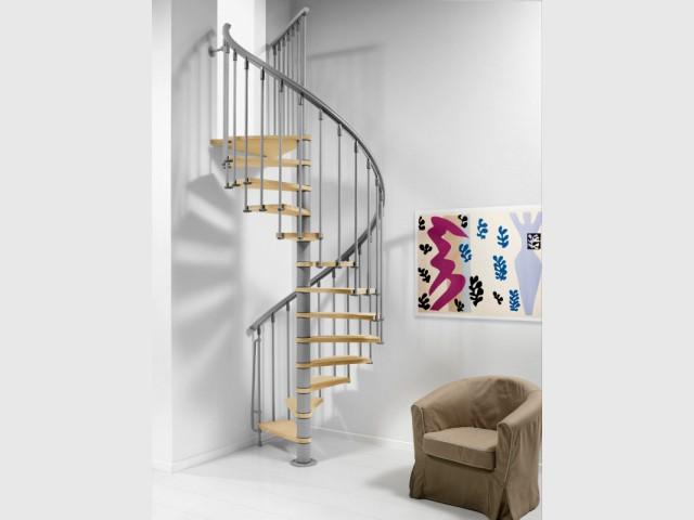Un escalier en hélice au coin d'un séjour - Escalier gain de place