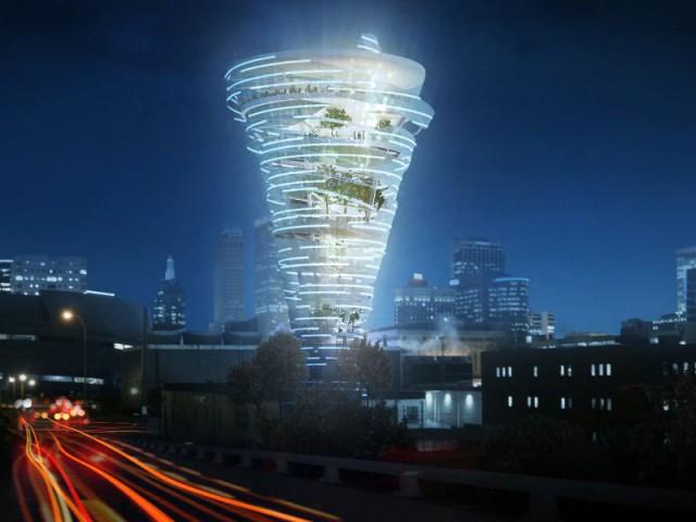 La tour tornade accueillerait un musée de la météo  - Une tour-tornade aux USA