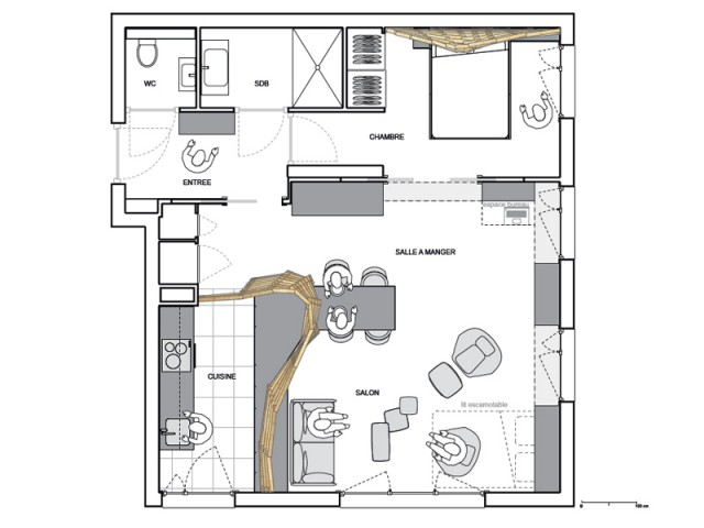 Optimiser, apporter de la chaleur et une identité aux lieux - Un appartement parcouru par une vague en bois