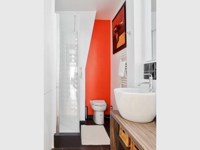 Une petite salle de douche colorée - Restructuration complète d'un appartement familial à Paris