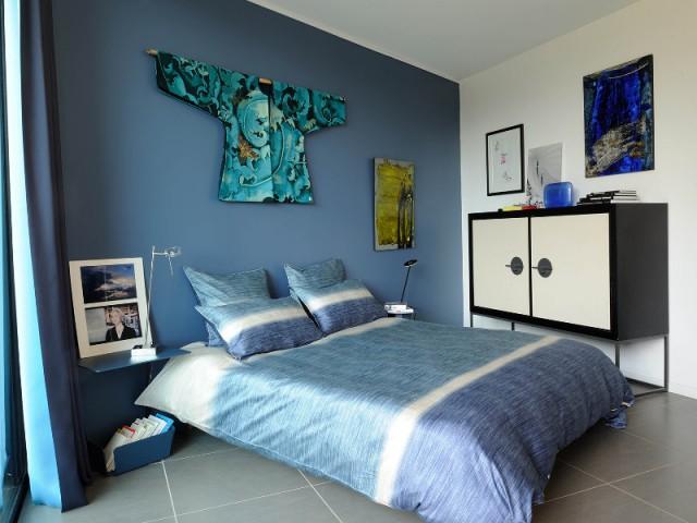Une chambre bleue sur le thème de l'Asie - Villa Cap Arts
