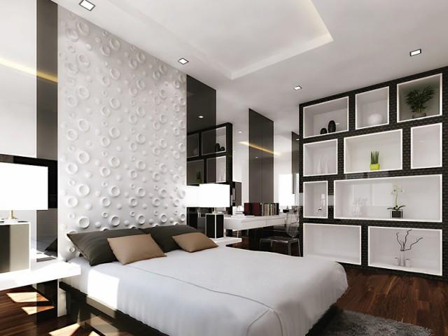 Des panneaux au look 70's comme tête de lit - Les murs prennent du relief