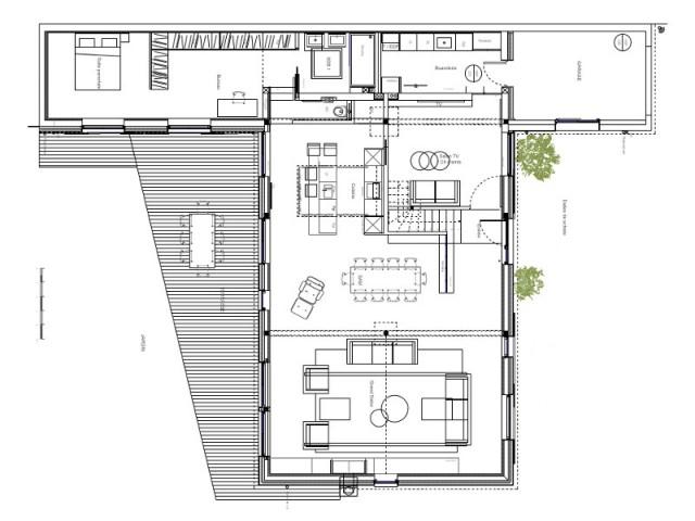 Un rez-de-chaussée consacré aux pièces à vivre - Surélévation d'un pavillon francilien