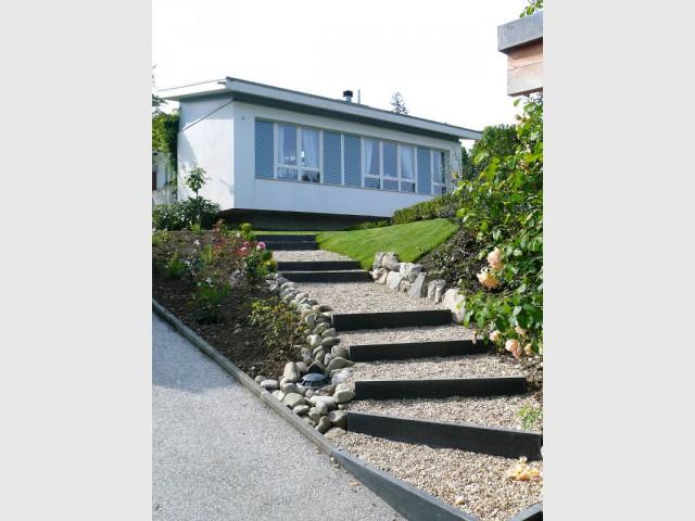 AvantAprs   Terrasses Pour Structurer Un Jardin En Pente