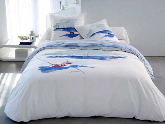 un motif marin pour une parure de lit qui fait voyager with housse de couette theme marin with. Black Bedroom Furniture Sets. Home Design Ideas