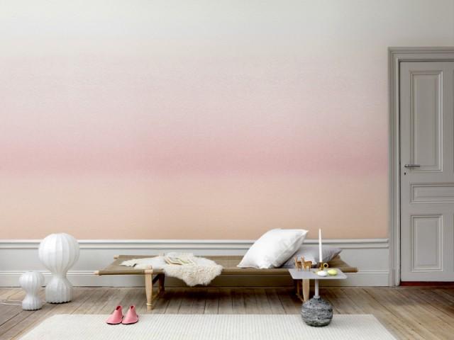Un coucher de soleil rose pour un papier peint apaisant - Tendance aquarelle