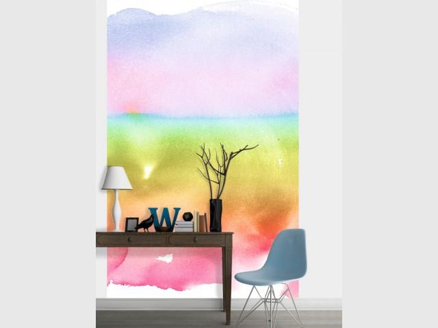 Un paysage arc-en-ciel pour un mur original - Tendance aquarelle