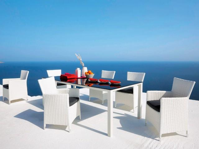 Une table en verre noire pour un repas chic à l'extérieur  - Tables estivales