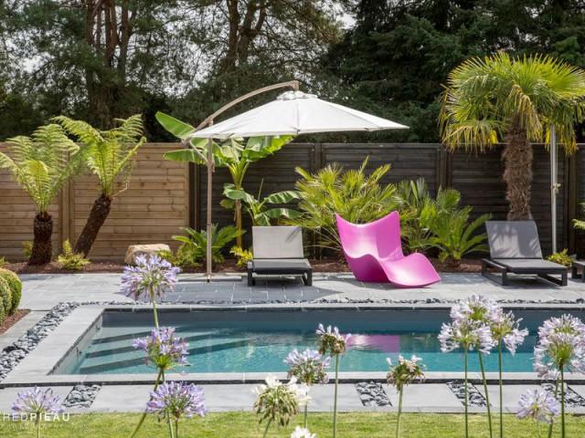 Un système de nage à contre courant à l'aide... d'un élastique ! - Une piscine zen en Bretagne