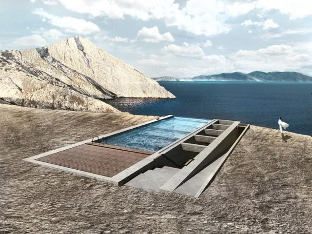 Une piscine en toiture - Casa Brutale