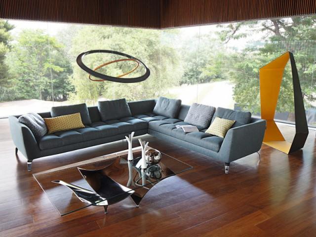 Un canapé gris-bleu pour réinventer le style classique - Canapés : osez la couleur