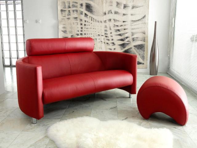 Un canapé en cuir rouge pour un salon luxueux - Canapés : osez la couleur