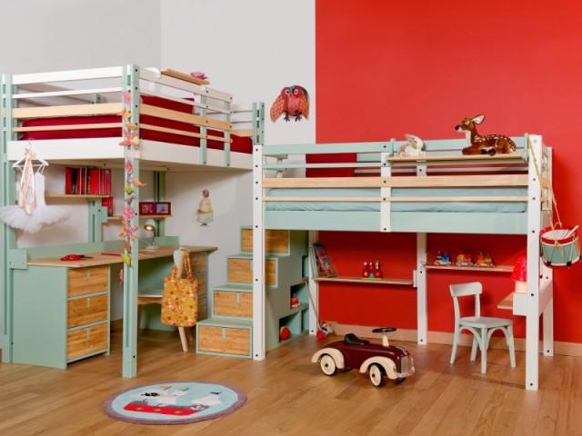 Créer un espace par enfant sous deux mezzanines - Une chambre d'enfants pour deux ou plus