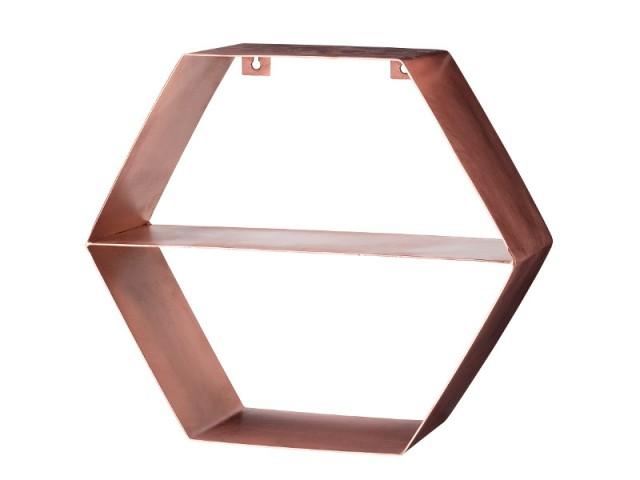 Au mur, une étagère hexagonale coloris cuivre rosé - Tendance cuivre rosé
