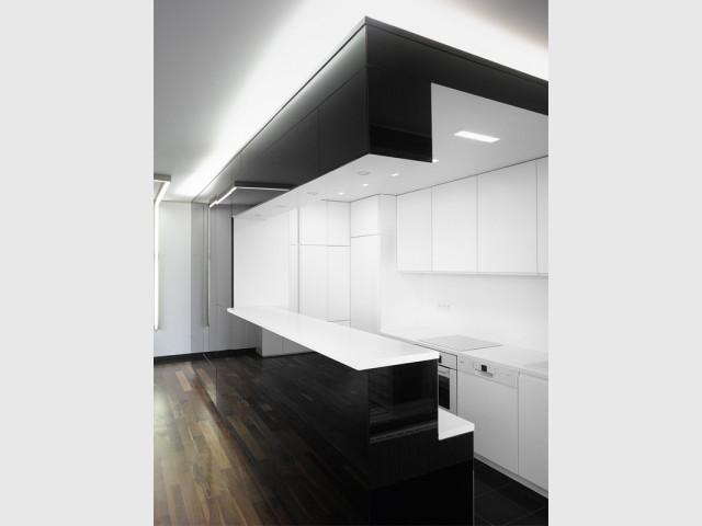 1 appartement noir et blanc minimaliste for Rangement minimaliste