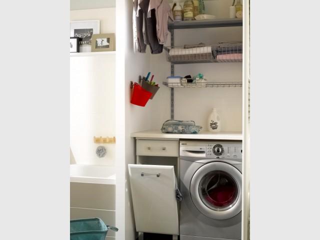 Un système de rangement vertical pour une buanderie familiale - Aménager une buanderie