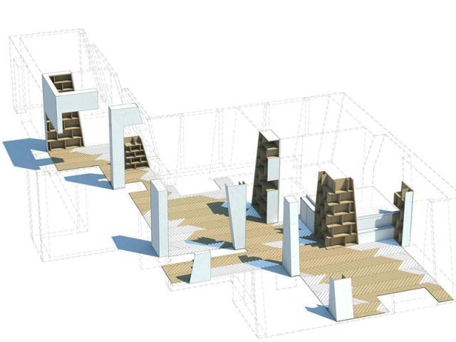 Des totems garnis de livres pour structurer et dynamiser l'espace - Un appartement structuré et dynamisé par des livres