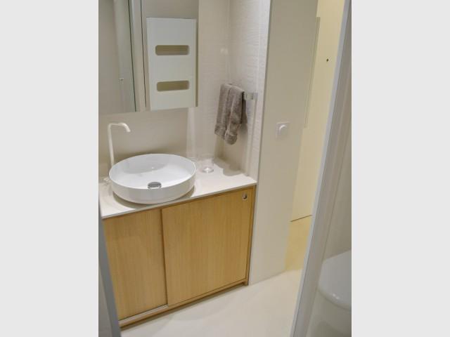 La salle de bains agrandie  - Un 22 m2 plein d'astuces gain de place