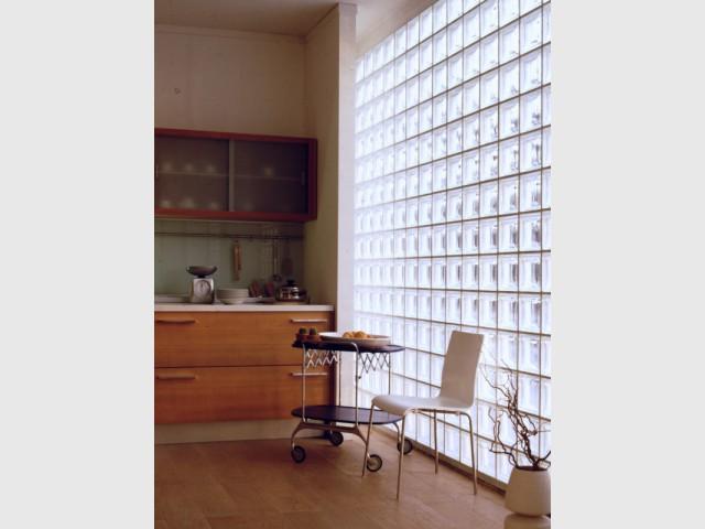 Un mur entier en carreaux de verre - Carreaux de verre