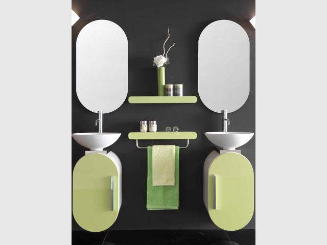 Des vasques à poser pour une composition de salle de bains géométrique - vasque à poser