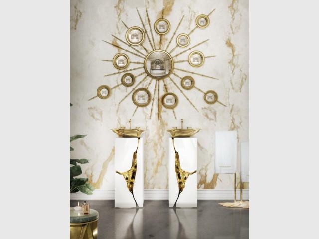 Bonus pour rêver : des vasques dorées sur leur trône - vasque à poser