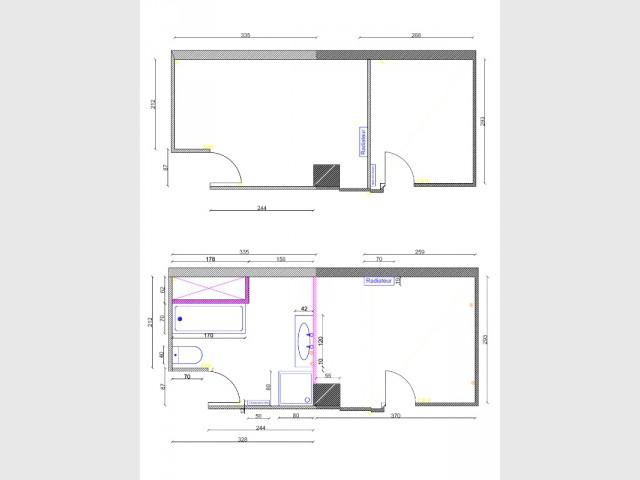 Une cloison déplacée pour obtenir des espaces aménageables - Salle de bains sous les toits