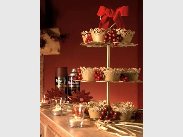 Des coupelles de présentations dorées - Déco de Noël DIY