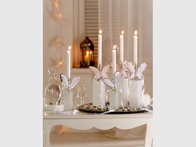 Des bougeoirs blancs aux ailes d'anges féériques - Déco de Noël DIY