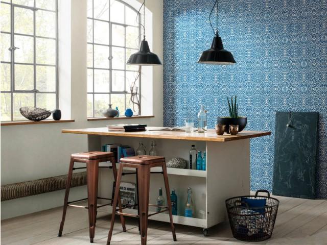 Du papier peint optique pour une cuisine urbaine - Du papier peint dans la cuisine