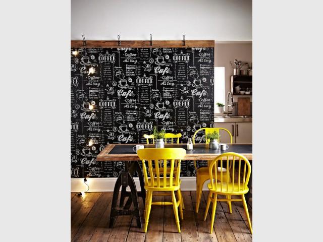 cuisine osez le papier peint. Black Bedroom Furniture Sets. Home Design Ideas