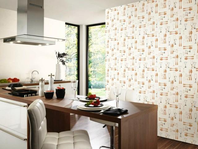 Du papier peint ton sur ton pour une cuisine discrète - Du papier peint dans la cuisine