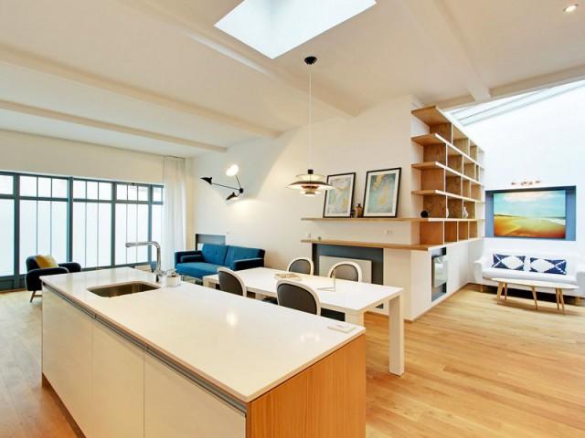 Trois sources de lumière pour un loft de 105 m2 - Une ancienne imprimerie transformée en loft industriel