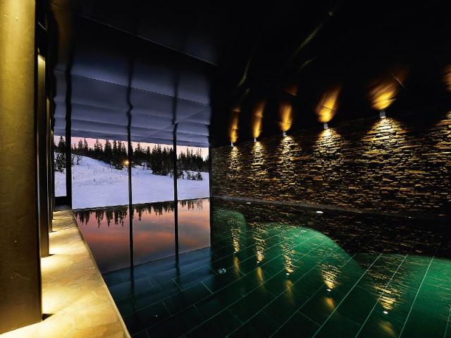 Une piscine à débordement donnant sur la montagne - Copperhill Mountain Lodge