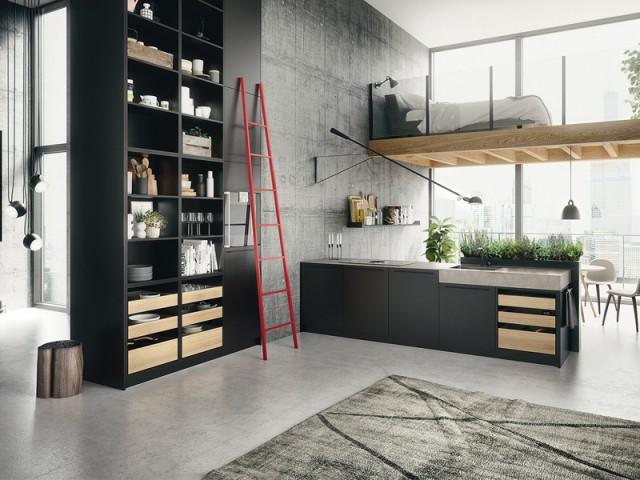 Allier noir mat et bois clair - Une cuisine aux airs industriels