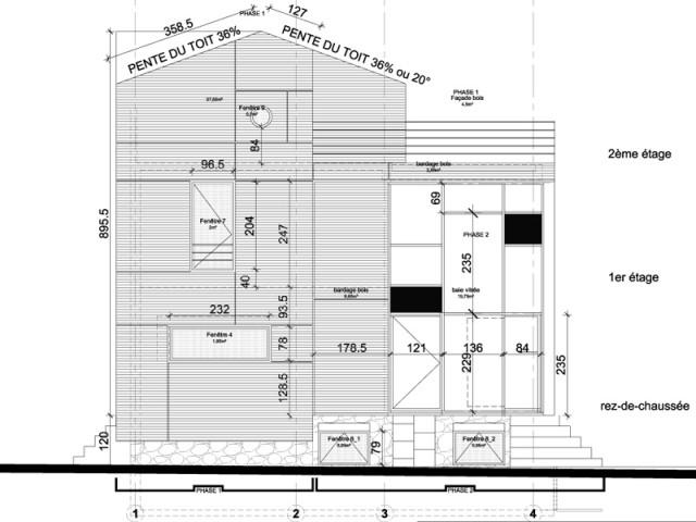 Plan de coupe du projet - Une maison transformée grâce à une seconde peau
