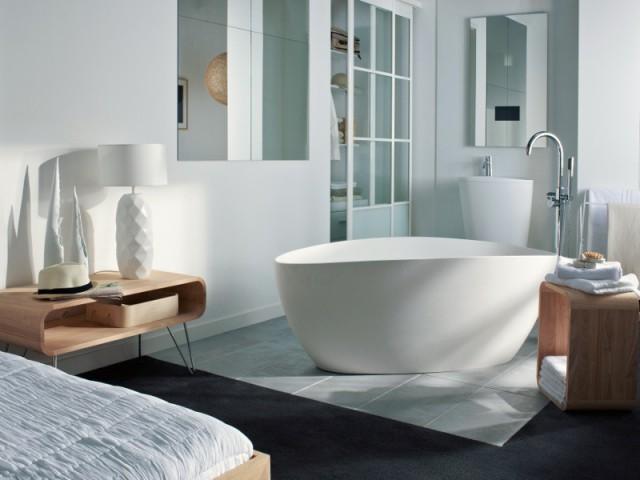 Un sol original pour séparer la chambre de la salle de bains - Séparer la chambre de la salle de bains dans une suite parentale