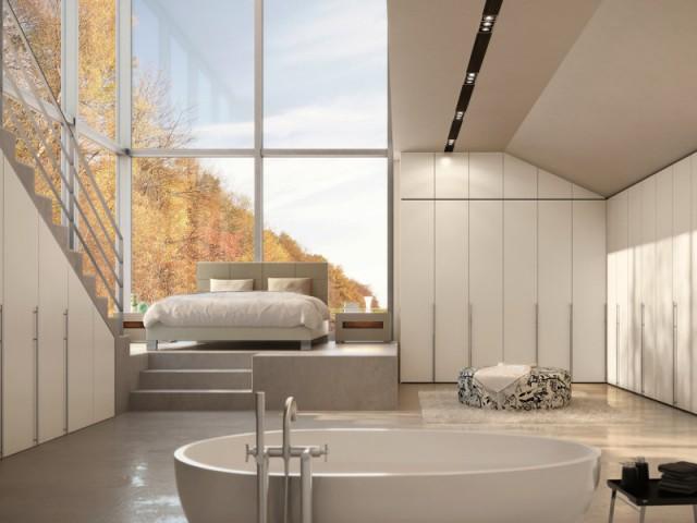 Un podium pour séparer la chambre de la salle de bains - Séparer la chambre de la salle de bains dans une suite parentale