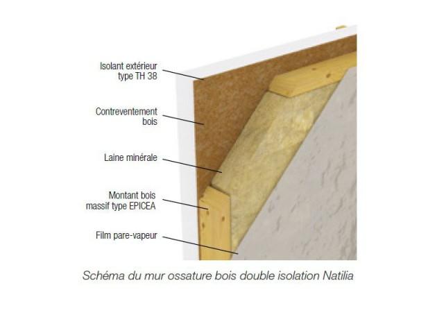 Un mur ossature bois à double isolation - Natilia BePos