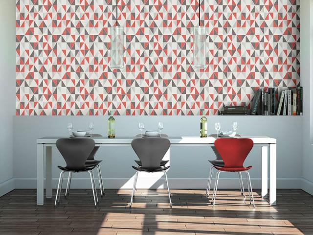 Un papier peint géométrique pour une salle à manger tendance - Dynamiser sa salle à manger