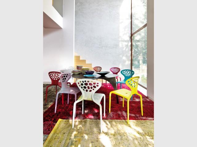 Des chaises arc-en-ciel pour une salle à manger multicolore - Dynamiser sa salle à manger