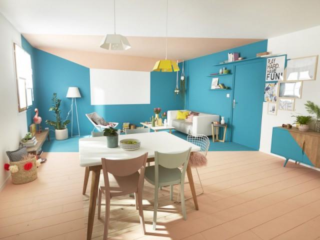 Un parquet et des murs peints pour créer une pièce dans la pièce - Délimiter un espace grâce au sol