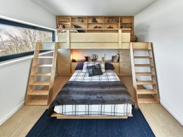 Une chambre avec lit superposé - Chalet contemporain sur pilotis entre la forêt et les lacs