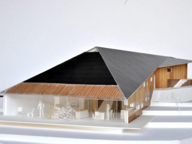 Maison Butterfly de K. Kuma : façade arrière largement ouverte - Maison La Garandie, Kengo Kuma