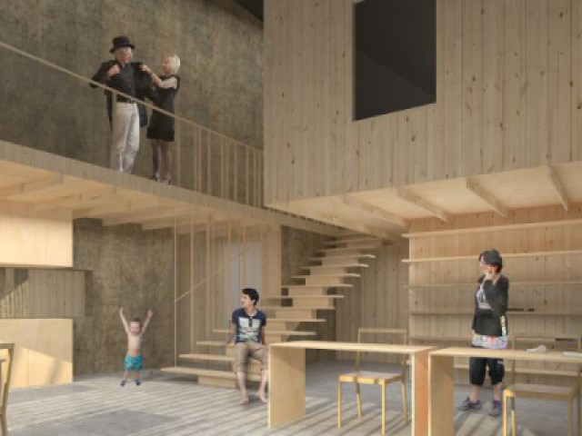 Maison Butterfly de K. Kuma : un intérieur divisé en trois parties - Maison La Garandie, Kengo Kuma