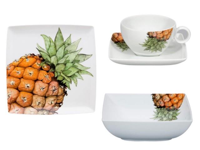 Des assiettes ananas pour un table exotique - La tendance Floride envahit les intérieurs