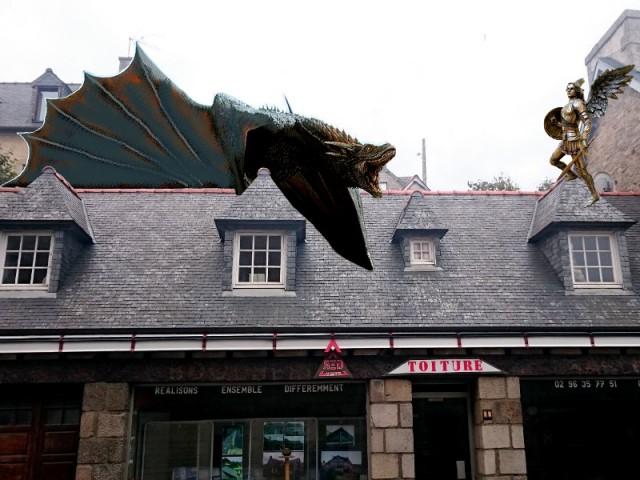 Dragon sur un toit