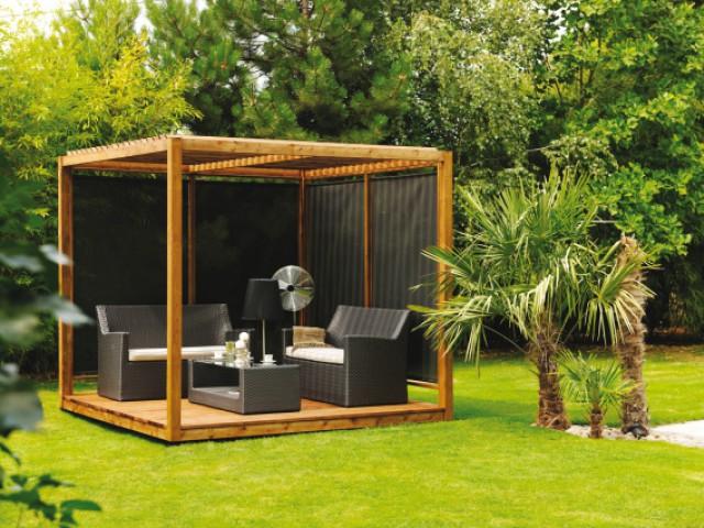 Une pergola en bois pour se fondre dans la nature - Une pergola orignale pour habiller son jardin