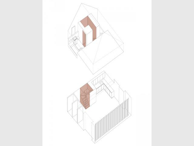 Un escalier pour séparer les espaces du duplex - Un duplex aménagé autour d'un escalier canyon